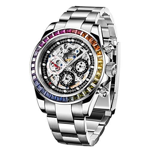 Relojes para Hombres Pulsera de Acero Inoxidable Reloj de Cuarzo analógico Reloj de Negocios Reloj Deportivo Informal para Hombres Rainbow Topring Multicolor