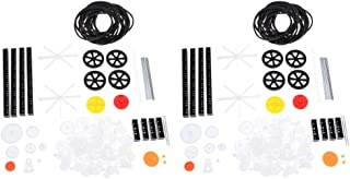 Perfeclan 2set 92x Plastic Gears Kits Pulley Spindle Shaft Worm Gearに適用Toy Robot DIY