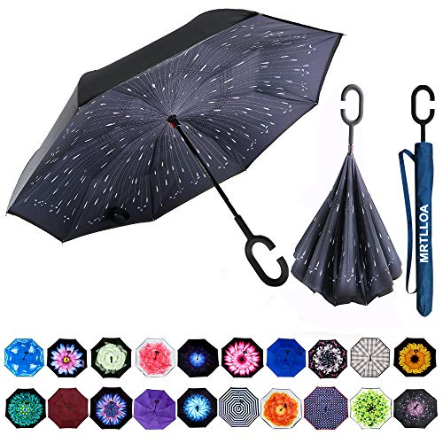 MRTLLOA Double Layer Inverted Umbrella with C-Shaped Handle, Anti-UV Waterproof Windproof Straight Umbrella for Car Rain Outdoor Use (N-star shower)