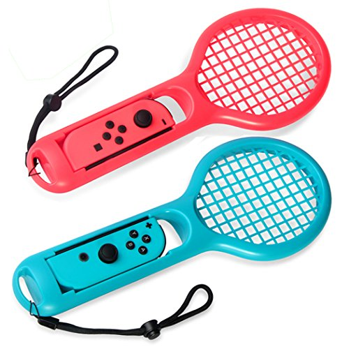 DOBE Tennis Racket voor Nintendo Switch, Joy-Cons/Controllers Grips voor Switch Joy-con Grip voor Somatosensory Games Like Mario Tennis Aces 2-Packs (rood-blauw)