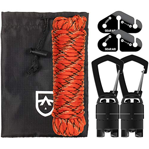 GEAR AID Camp Line Kit for Hanging and Drying Gear on a 550 Paracord, Black, One Size