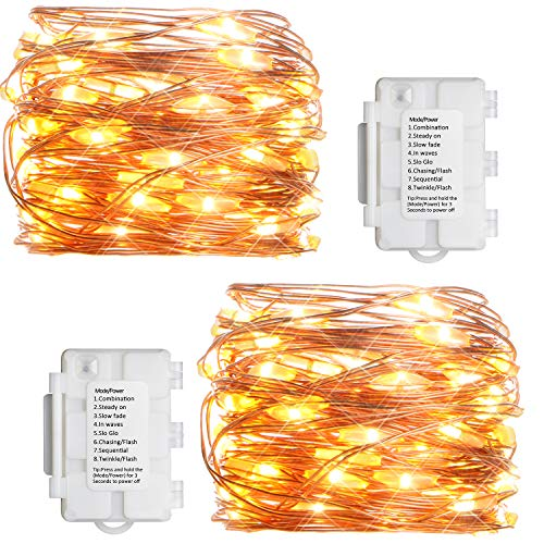 KooPower 2 Pack Fairy Lights 8 Modes Battery Opearted Fairy Christmas Lights 50 LEDs IP65 Waterproof Copper Wire String Lights with Timer Function for Garden Bedroom Wedding (Warm White)