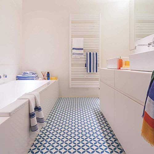 Mosaic Tile Effect Sheet Vinyl Cushion Flooring Lino - Kensington Blue - Multiple Sizes Available (1.5m x 2m)