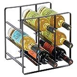mDesign Estante para vino y otras botellas – Atractivo soporte para botellas – Organizador de vino con 3 niveles de acero – Botellero para armario de cocina, despensa o salón – negro