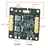 FOXEER FALCORC FCC3D Flight Controller Mini Power Distribution Board PDB w/LED (Comes BEC 5V 12V,LED Controller,Tracker,Low Voltage Alarm) Drone FPV Racing