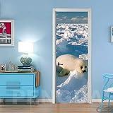 MZNVTD Etiqueta De La Puerta 3D Pegatinas De Pared Escena De Nieve Blanca De Foca Animal 85X200Cm Impermeable Removable Vinilos Carteles Murales Para Dormitorio Cuarto De Niños Arte Moderno Decoracion
