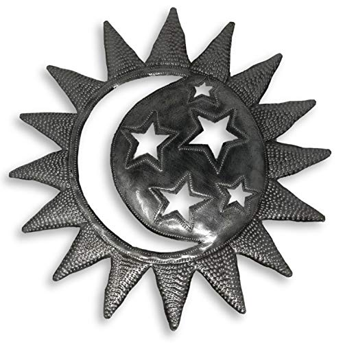 Sun in Moon, Celestial, Stars, Decorative Plaque for Indoor or Outdoor, Wall Hanging Sculpture, Handmade in Haiti 15 x 15 Inches