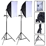 Safstar Photography Softbox Lighting Kit 24'x16' Socket Ligh Photo Portrait Studio Lighting Diffuser Soft Box Equipment Set of 2 with Bulbs