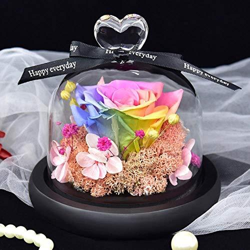 FICI Rose Kunstbloemen Kolf Bruiloft Gedroogde bloemdecoratie In Glazen Deksel voor Valentijnsdag Verjaardagscadeau, G