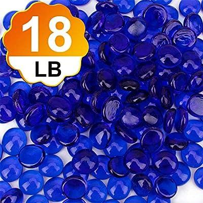 [18 Pound] Fire Glass Beads Fireglass Drops for Gas Fire Pit Fireplace Cobalt Blue Luster Reflective Decorative Glass Gems Rocks Pebbles Stone for Vase Fillers Aquarium Fish Tank Decoration (18.1)