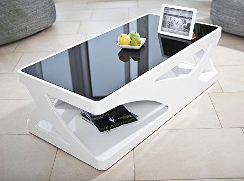 Preisvergleich Produktbild SalesFever Couchtisch in Hochglanz weiß mit schwarzer Glasplatte Ventura