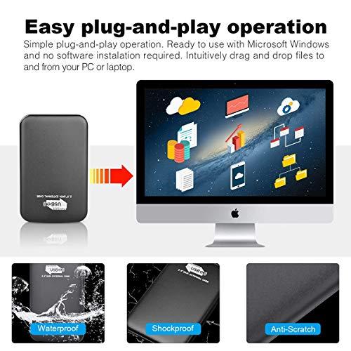 Disco duro externo portátil de 2 TB, disco duro externo delgado compatible con PC, escritorio, portátil, Mac G-Silver 2 tb miniatura