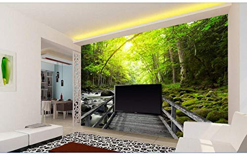 3D Wallpaper für Wände Individuelles Wandbild 3D-Holzbrücke über den Bäumen des Baches Gemälde Fototapeten für Wände 3D 400X280Cm