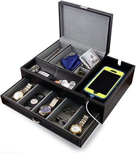 HOUNDSBAY Admiral Dresser Valet Box & Mens Jewelry Box Organizer with Large...