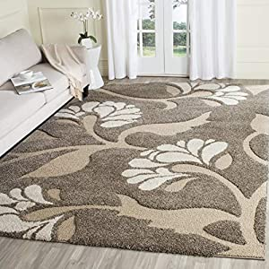 SAFAVIEH Florida Shag Collection SG459 Floral Non-Shedding Living Room Bedroom Dining Room Entryway Plush 1.2-inch Thick Area Rug, 6'7″ x 6'7″ Square, Smoke / Beige