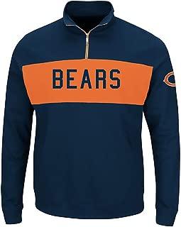 Chicago Bears NFL Mens Majestic Goal Line 1/4 Zip Long Sleeve Sweatshirt Navy Blue Big Sizes