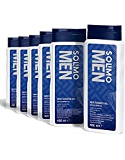 Marchio Amazon - Solimo Gel doccia uomo con olio di mandorla- Confezione da 6 (6 flaconi x 400 ml)
