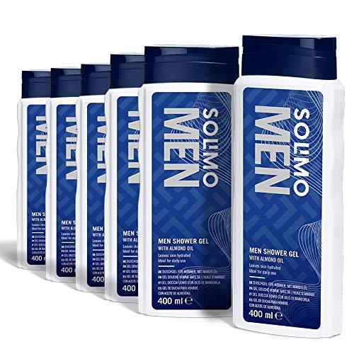 Amazon-Marke: Solimo Duschgel für Männer mit Mandelöl- 6er-Pack (6 Flaschen x 400 ml)