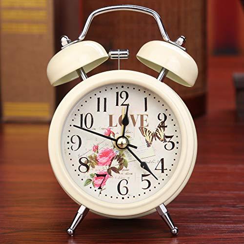 SMAQZ Alarm Clock - European Retro Metal Bell Alarm Clock Beige 7.3 * 5 * 12.5Cm