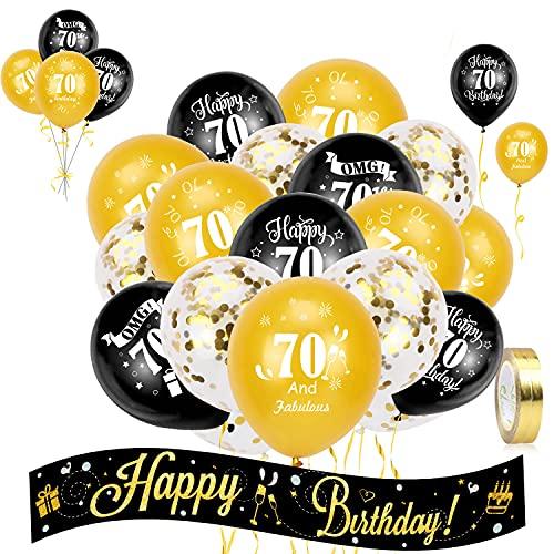 HOWAF Anniversaire Ballon Noir et Or Kit Happy Birthday bannière Guirlande, Ballons Confettis, 70 Ans Anniversaire Latex Ballon Noir et Or 70 Ans Anniversaire Décorations Femme, Homme (âge 70)