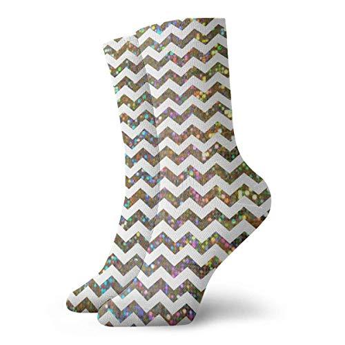 QUEMIN Glitter Ripple Leisure Calcetines deportivos de algodón Soft Classics Compression Socks Athletic Long Crew Calcetines para hombres Mujeres Regalo de vacaciones