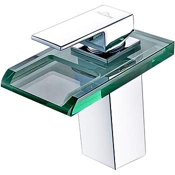 Auralum Led Bad armatur aus Glas, Waschtischarmatur Wasserfall Wasserhahn mit RGB Farbewechsel fürs Bad Badezimmer Waschbeckenarmatur