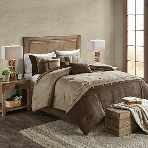 Madison Park Boone 7 Piece Faux Suede Comforter Embroidered Pillows, Bedskirt and Shams Cabin Style Soft Down Alternative Hypoallergenic All Season Bedding-Set, Queen, Brown
