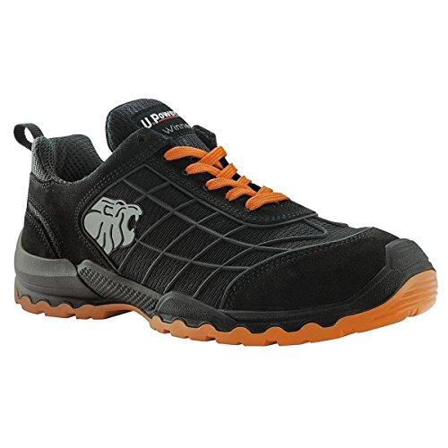 UPOWER WN20016-47, Industrial Shoe Unisex, Schwarz und Orange, 47 EU