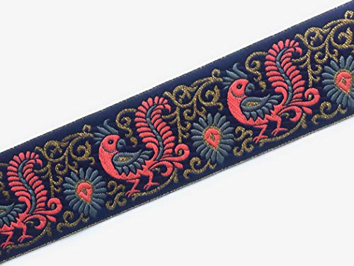 Indian Trim - Jacquard Ribbon - Brocade Sewing Trim with a Grey and Peach Peacock Pattern - 3 Yards - by Craftbot