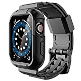 Simpeak Funda Protectora con Correa, Compatible con Apple Watch 44 mm/42 mm, Resistente a los Golpes, Carcasa de Correa Deportiva Robusta Hecha Compatible con Apple Watch SE Serie 6/5/4/3/2/1, Negro