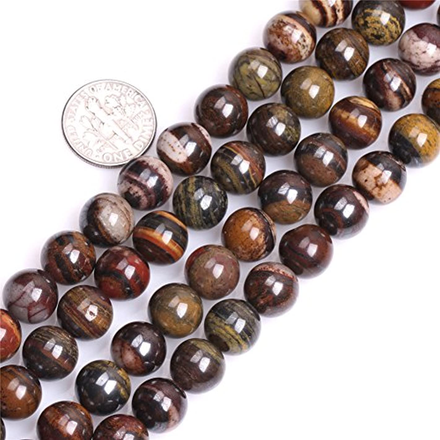 GEM-inside 10mm Natural Brown Sunset Tiger Iron Stone Gemstone Semi Precious Round Beads for Jewelry Making 15