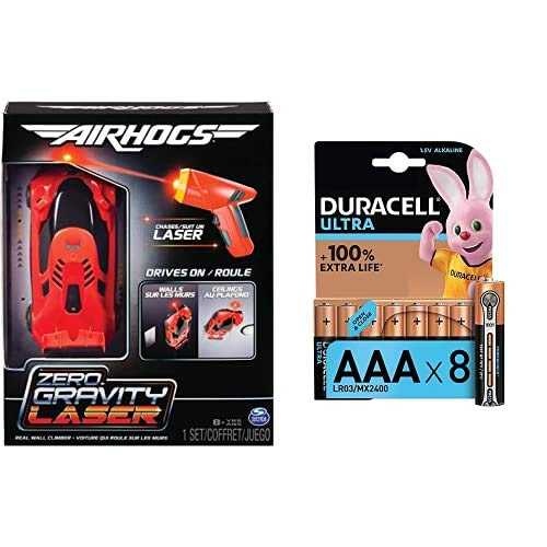 Air Hogs Zero Gravity Laser, Laser-Guided Real Wall-Climbing Race Car with Duracell Ultra Power AAA Batteries, Pack of 8