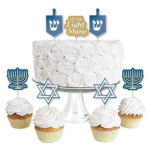 Big Dot of Happiness Happy Hanukkah - Dessert Cupcake Toppers - Chanukah Clear Treat Picks - Set of 24