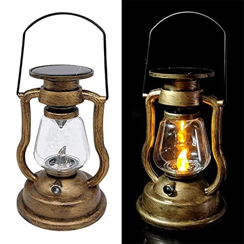 GHGD Linterna Vintage con Energía Solar, Llama Parpadeante, Linterna Solar para Colgar Al Aire Libre, Luces LED De Noche, Linterna Decorativa con Vela para Acampar, Jardín, Patio, Paquete De 2