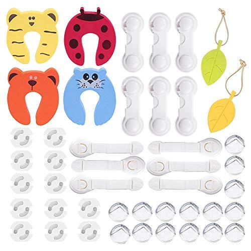 45 Pcs Kit de Seguridad para Bebés,Cerraduras de Seguridad Niños,Cerraduras de Cajón de Esquina,Protectores de esquinas etc.