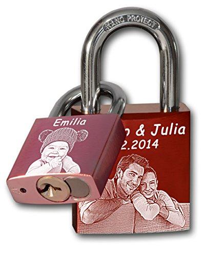 Familien Liebesschloss mit Foto| 1x 40mm (rot) + 1x 30mm (rosa) | Premium ABUS Markenschloss | Geschenk für Eltern und Tochter mit Fotogravur