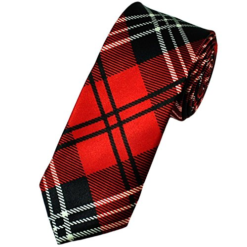 Cravattes Fines de Tartan: Rouge