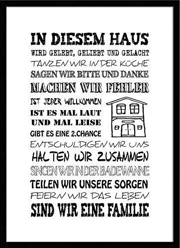 artissimo, Spruch-Bild gerahmt, 51x71cm, PE6003-ER, In diesem Haus.., Bild, Wandbild mit Spruch,...