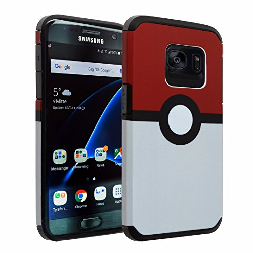 Galaxy S7 Case, DURARMOR [ S7 Gameboy Poke Ball Style Dual Layer Hybrid Shockproof Ultra Slim Fit Armor Bumper Air Cushion Defender Drop Protection Case Cover