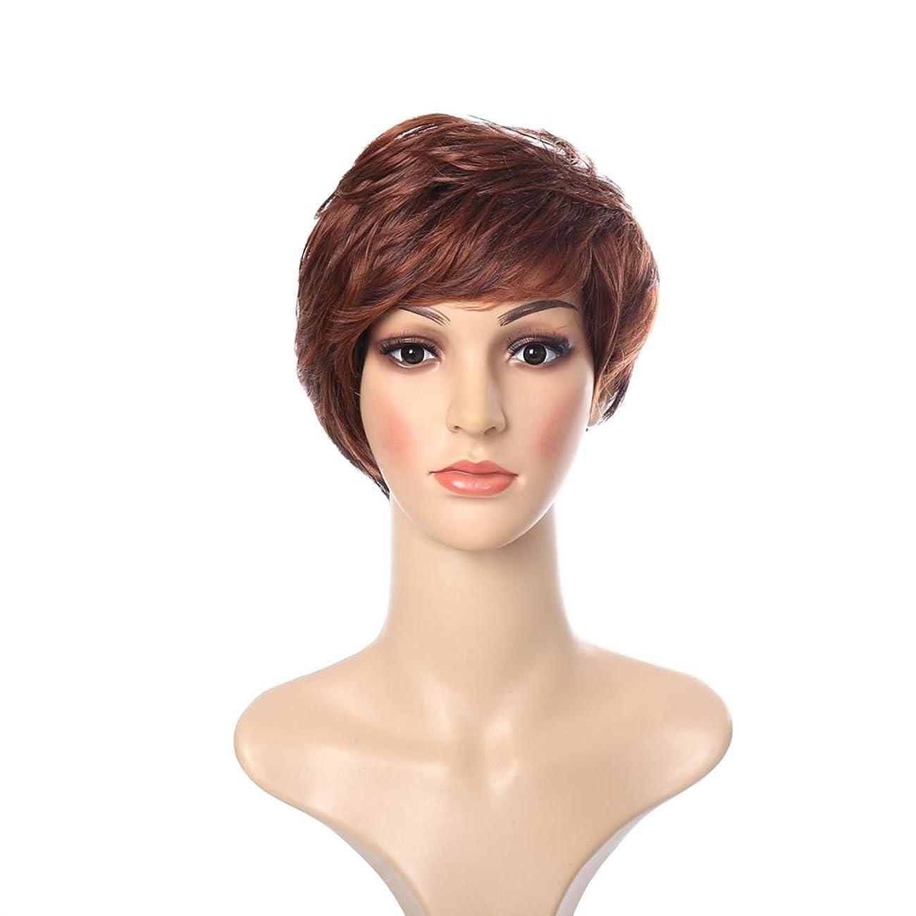 ストレスの多いスロベニア完全に女性の短い毛カールウィッグふわふわの偽の帽子は、勾配ヨーロッパとアメリカのヘアスタイル (Color : ブラウン)