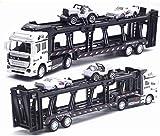 Coche de juguete Transportador de aleación 1:48 Die-cast Pull Back Model Car Multifuncional Transporte Remolque Simulación Apariencia y diseño de escalera Coches y camiones de juguete Regalos de Navid