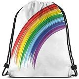 BOUIA Tunnelzug Rucksack Taschen Sport Gym Cinch Bag, abstrakte Pinsel markiert Regenbogenmuster mit realistischen Gefühl Pride Week Love Freedom