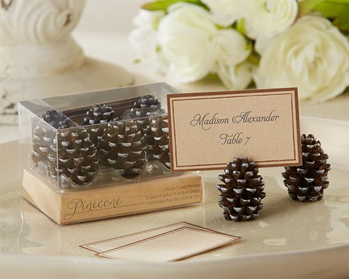 Wedding Favors Pinecone Place Card Photo Holders Set of 6 by Kateaspen