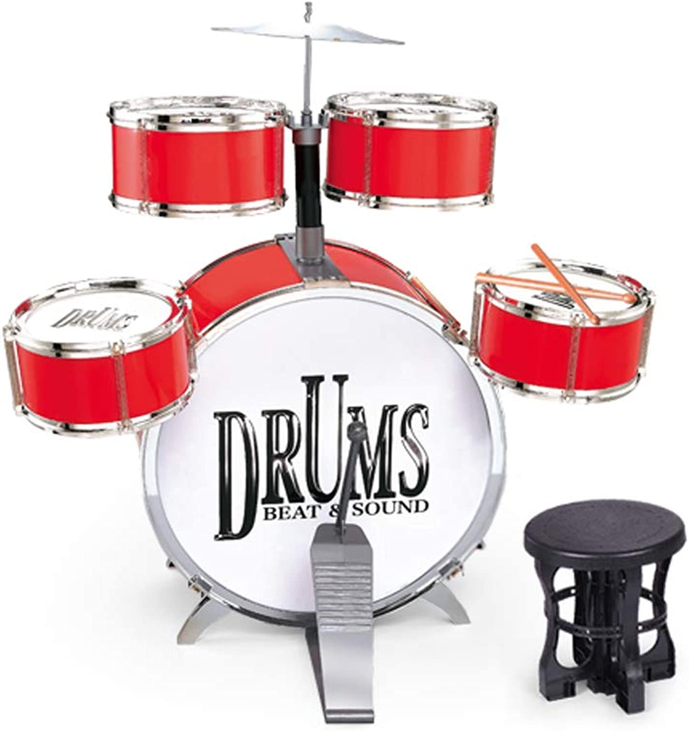 HXGL-Trommel Kinder Drum Toy Musikinstrument Anfnger Praxis Jazz Drum Boy Girl 3-6 Jahre alt (Farbe   Large rot)