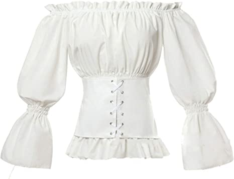 Dahee Blusa gótica de Renacimiento Lolita Camisa Medieval con ...