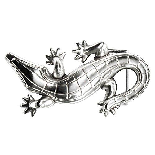 Gürtelschnalle Buckle 40mm Metall Silber Geschwärzt - Buckle Kroko - Dornschliesse Für Gürtel Mit 4cm Breite - Silberfarben Geschwärzt
