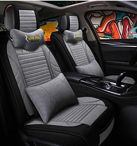 Living Equipment Car Seat Cover Cushions Full Set Leather Breathable Flax Linen Car Seat Covers Universal F