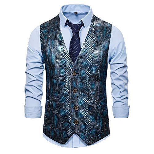 Verhaal van het leven Glitter Heren Vest Pailletten Python Print Suit Taillejas Classic Slim Fit Tuxedo Formele Bruiloft Gilet