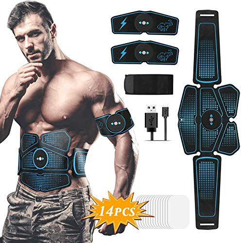 Hieha Muscle Stimulator, ABS Abs Muscle Stimulator, 8 Modes & 10 Trainer Levels for Abdomen / Waist / Arms / Legs