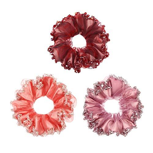 Cottvott 3/pack Chiffon Hair Rope Yarn Beads Hair Ties Women Hair Accessories Scrunchies (red-pink-lightpurple)